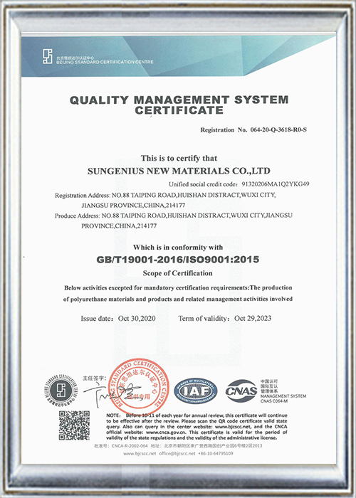 ISO9001:2015 Quality Management System Certificationtion